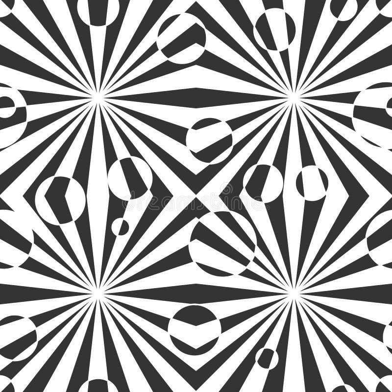 PrintBlack y modelo inconsútil abstracto geométrico blanco Ejemplo del vector, ilusión óptica Líneas simples rayadas, ef hipnótic libre illustration