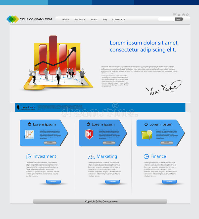 PrintBusiness template web site. Business template web site with business people vector illustration