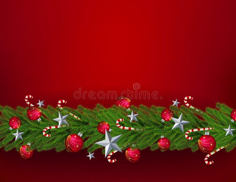 PrintChristmas выходит с реалистическим настилом рождественской елки на красную предпосылку Звезда, шарик, улучшает для слова иллюстрация штока