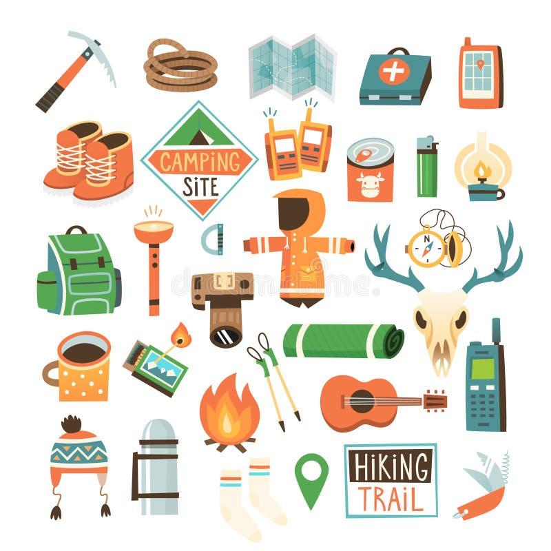 PrintCollection degli oggetti per l'escursione, backpacking ed il viaggio nel selvaggio royalty illustrazione gratis