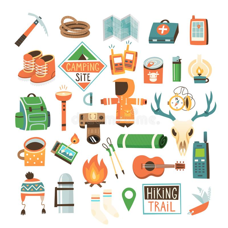 PrintCollection von Einzelteilen für das Wandern, das Wandern und das Reisen in das wilde stockfotografie