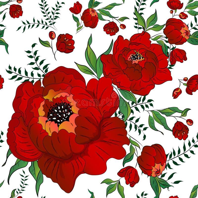 Printeamless modell med scharlakansröda blommor stock illustrationer