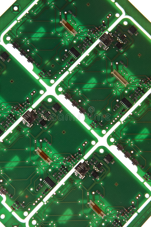 Printed Circuit. Plate on white background stock photography