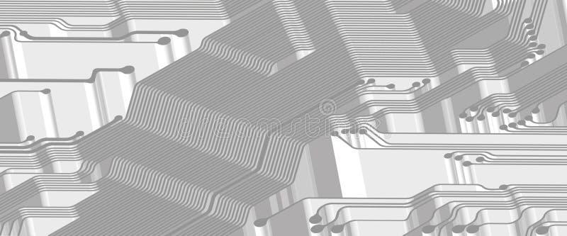 Printed circuit - banner - 3D vector illustration