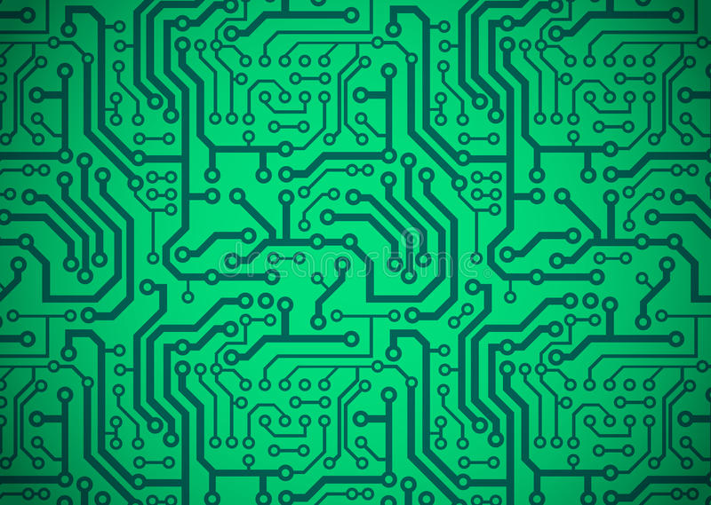 Printed Circuit Board. Illustration of a green printed circuit board vector illustration