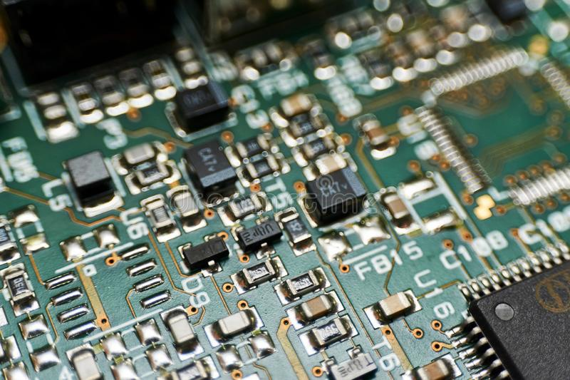 printed circuit Board with chips and radio components electronics royalty free stock images