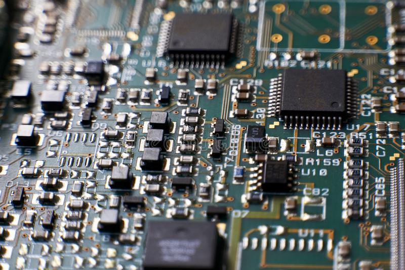 printed circuit Board with chips and radio components electronics royalty free stock photography