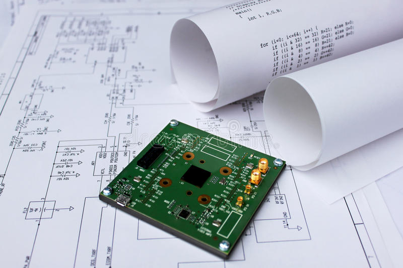 Printed Circuit Board,circuit Diagram,software Stock Image - Image ...