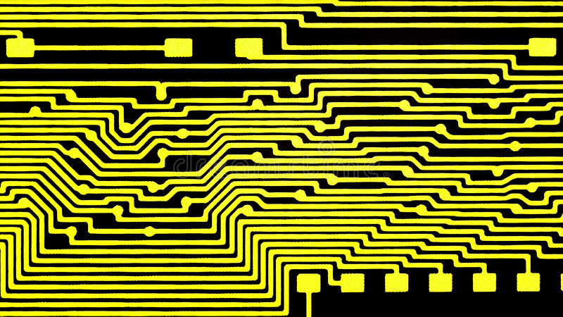 Printed circuit board, contacts for radio components. Coat with gold royalty free stock photography