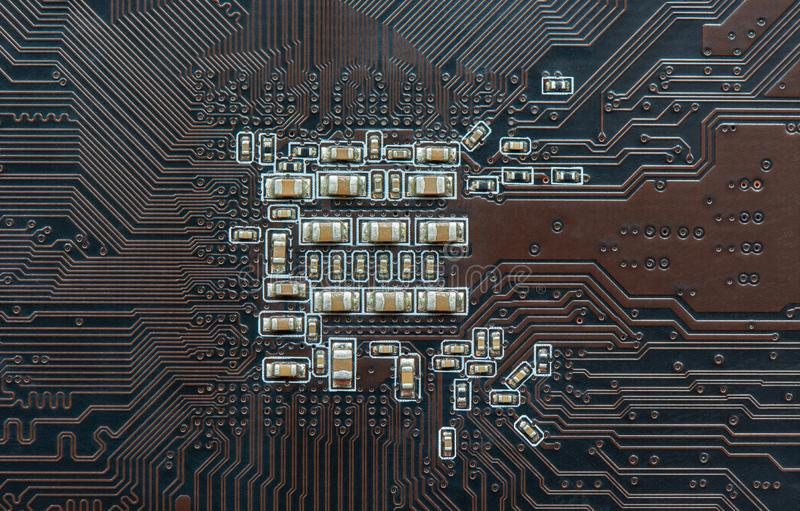 Printed circuit Board with electronic components stock photos
