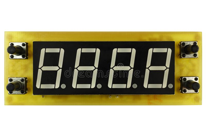 Printed circuit board of electronic timer clock with LED indicator and control buttons isolated on white background stock photos