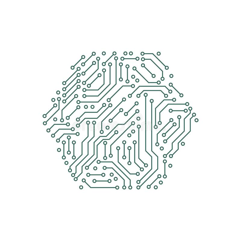 Printed circuit board green and white computer technology elements in a shape of a hex, vector. Illustration stock illustration