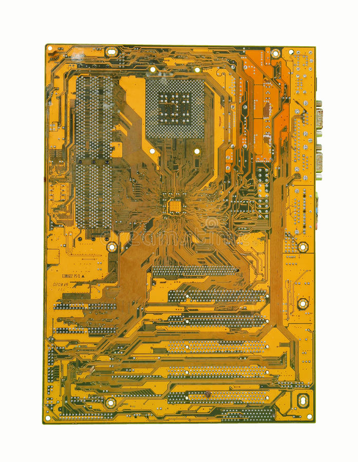 Printed circuit board. Of mainboard for computer pc stock images