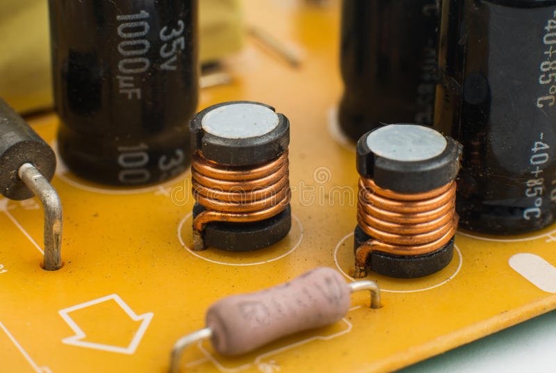 Printed-circuit board. It is photographed by close up stock photo