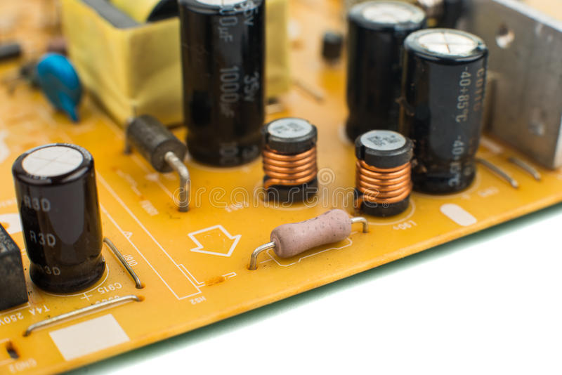 Printed-circuit board. It is photographed by close up stock photos