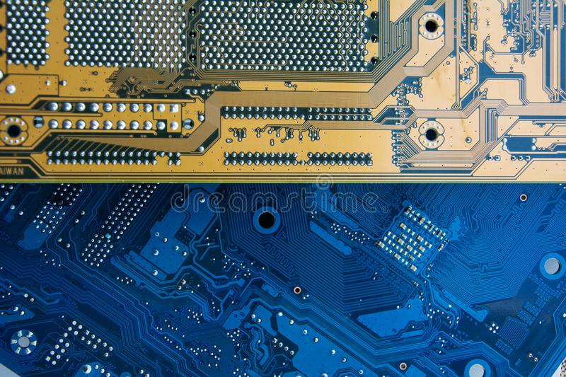 Printed circuit boards of computer motherboard. Electronic and computer technology. Technology of scientific knowledge, stock images