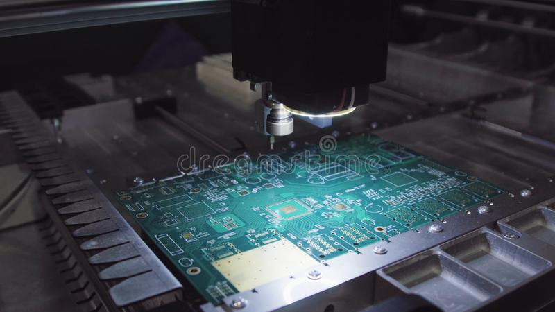 Printed circuit boards production factory. Technological process. Microchip production factory. Production of electric stock photos