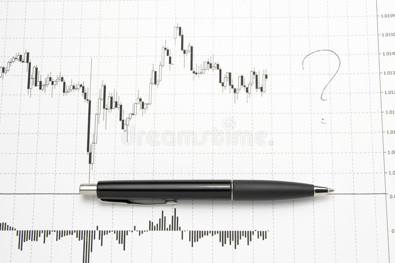 Printed Forex Chart With Pen - Uncertainty Stock Photo