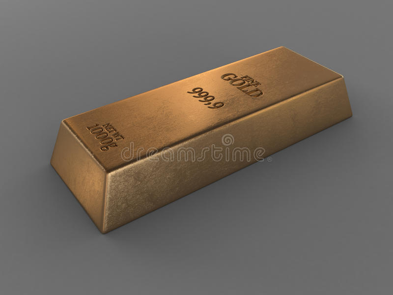 Printed gold bar. Isolated on grey stock illustration