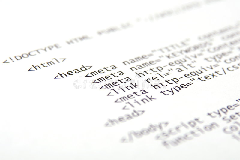 Printed html code. Printed internet html code, technology background stock photography