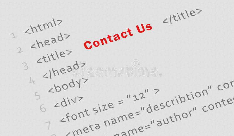 Printed html code for Contact us page. Business concept: Printed html code for Contact us page - technology banner royalty free stock photos