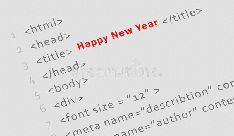 Printed html code for Happy New Year. Page - technology banner stock photos