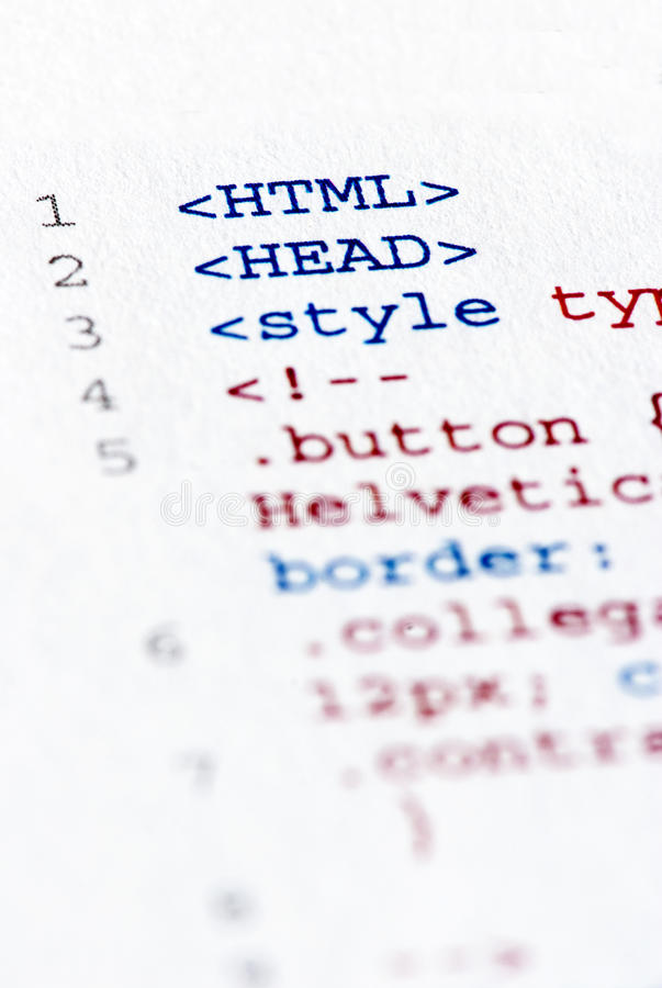 Printed internet html code. Close up of the html code page stock image