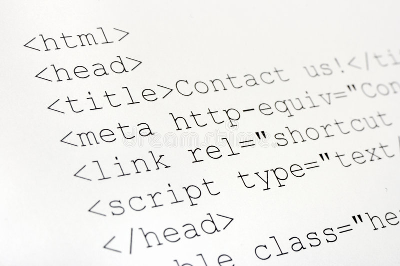 Printed internet html code. Technology background royalty free stock photo