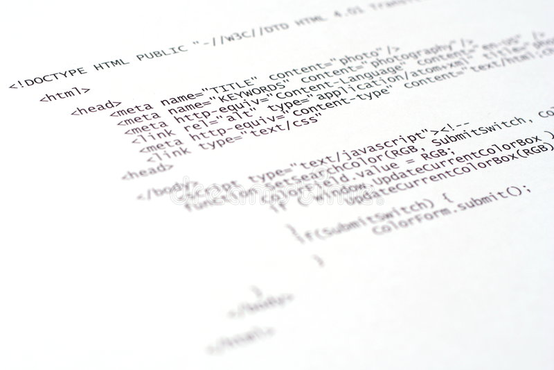 Printed Internet Html Code  Technology Background Stock Photo