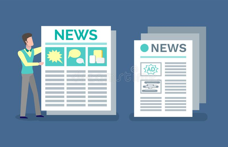 Newspaper Journal with Advertisements and News royalty free illustration