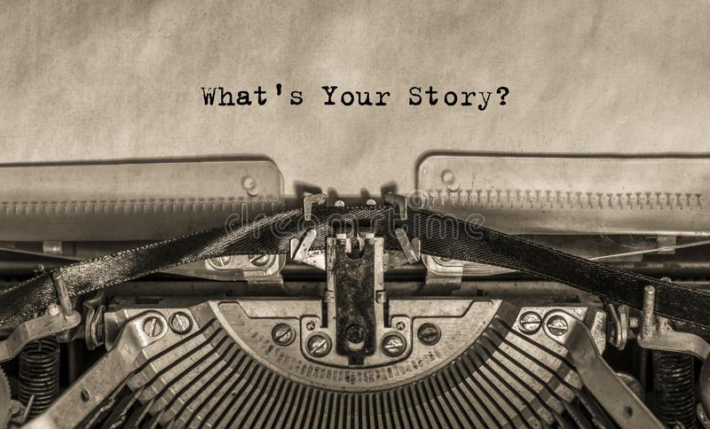 Printed text on paper What`s your story?. What is your story? typed on an old vintage typewriter text stock photography