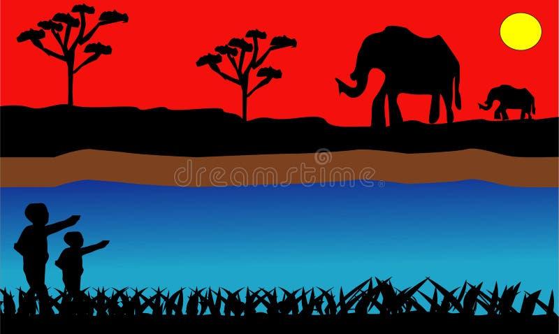 PrintElephant στην αφρικανική σαβάνα στο ηλιοβασίλεμα Φοίνικες Doum, ακακία Σκιαγραφίες των ζώων και των φυτών Ρεαλιστικό διανυσμ ελεύθερη απεικόνιση δικαιώματος