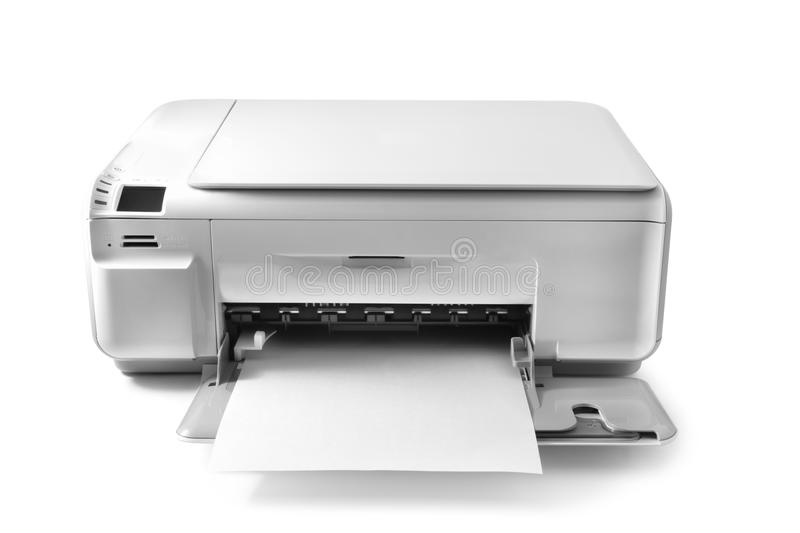 Printer. Multifunction printer isolated on white royalty free stock photo