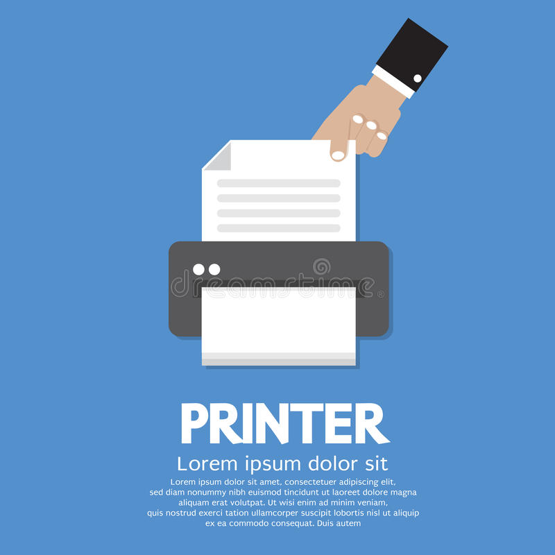 Printer. Working With Printer Vector Illustration vector illustration