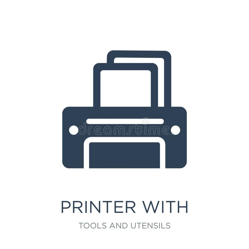 Printer with blank paper sheet icon in trendy design style. printer with blank paper sheet icon isolated on white background. Printer with blank paper sheet royalty free illustration