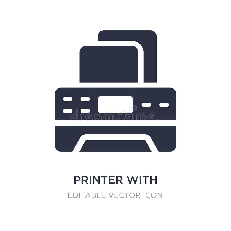 Printer with blank paper sheet icon on white background. Simple element illustration from Tools and utensils concept. Printer with blank paper sheet icon royalty free illustration