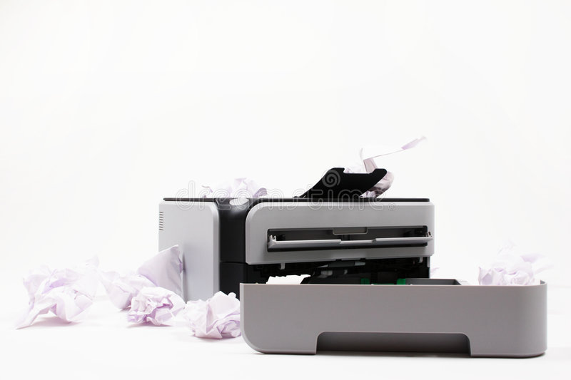 Printer with Crumbled Paper royalty free stock images