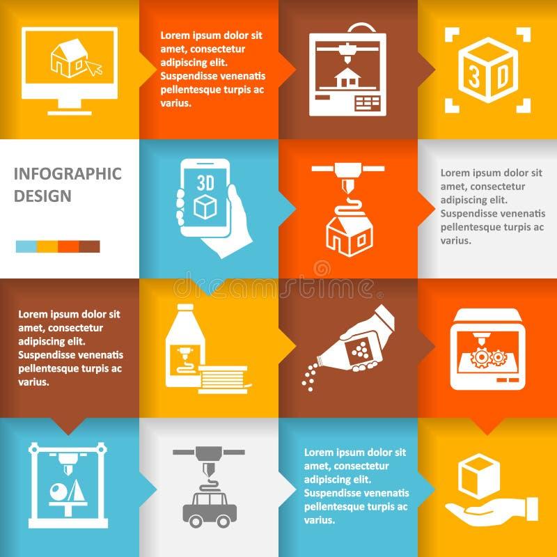 Printer 3d infographic vector illustratie