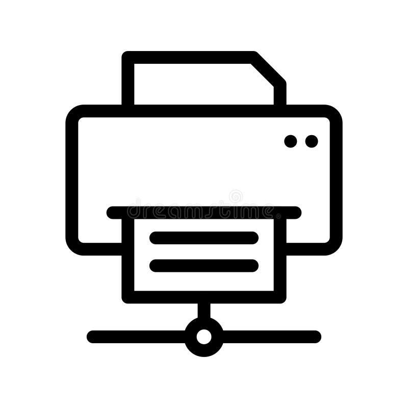 printer die vectorlijnpictogram delen vector illustratie