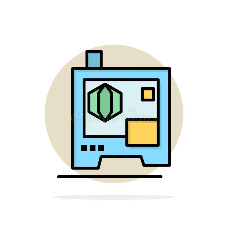 Printer, Druk, 3d, van de Achtergrond scanner Abstract Cirkel Vlak kleurenpictogram stock illustratie