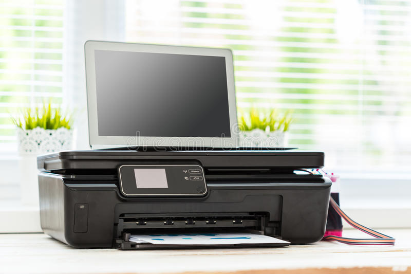 Printer en computer stock foto's