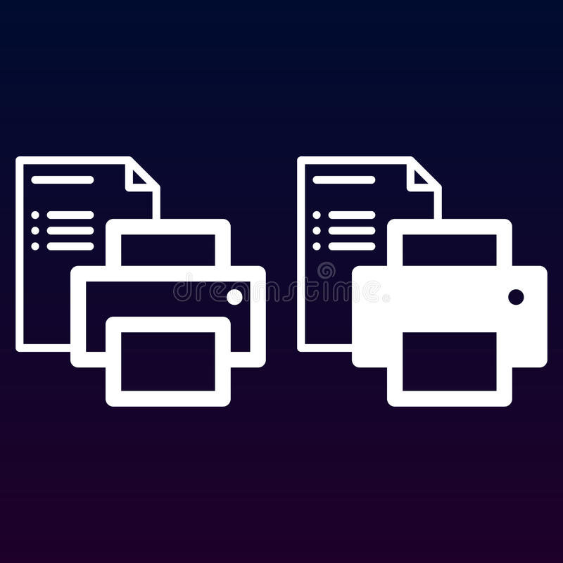Printer en document documentlijn en stevig pictogram, overzicht en gevuld vectorteken, lineair en volledig die pictogram op wit w royalty-vrije illustratie