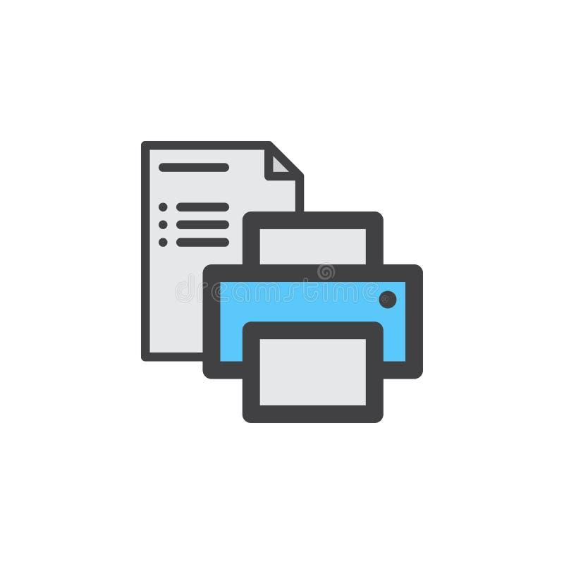 Printer en document het pictogram van de documentlijn, gevuld overzichts vectorteken, lineair kleurrijk die pictogram op wit word stock illustratie