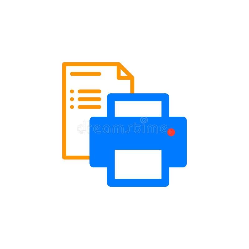 Printer en document het vector, gevulde vlakke teken van het documentpictogram, stevig kleurrijk die pictogram op wit wordt geïso stock illustratie