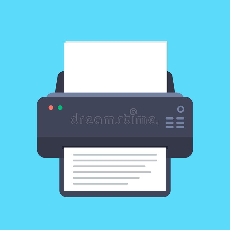 Printer flat icon with long shadow. Top view. Vector illustration stock illustration