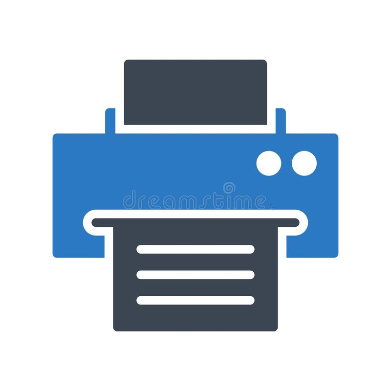 Printer glyphs color vector icon. Printer vector icon. Elements for mobile concept and web apps. Thin line icons for website design and development, app royalty free illustration