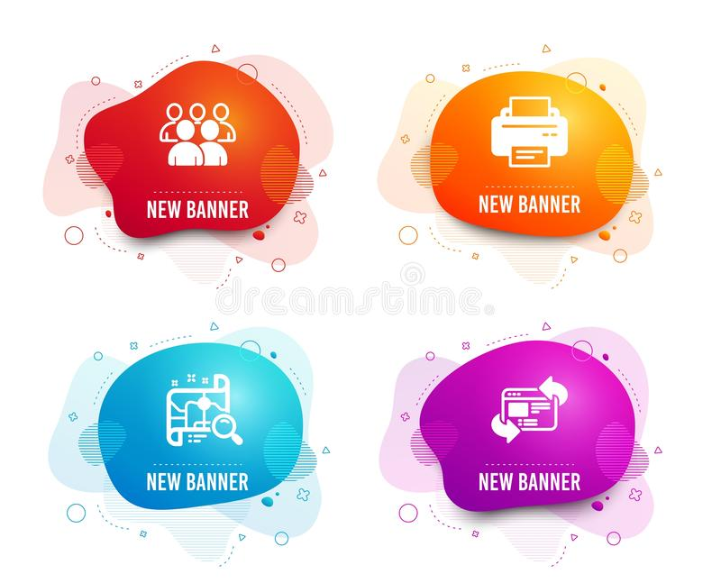 Printer, Group and Search map icons. Refresh website sign. Printing device, Developers, Find address. Vector. Liquid badges. Set of Printer, Group and Search map stock illustration