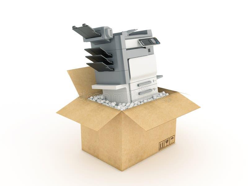 Printer in kartondoos stock illustratie