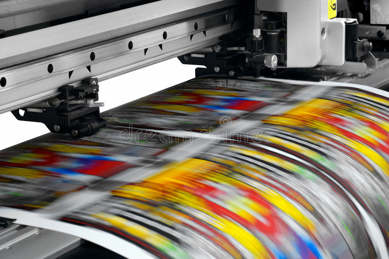Printer. Large printer format inkjet working stock photos