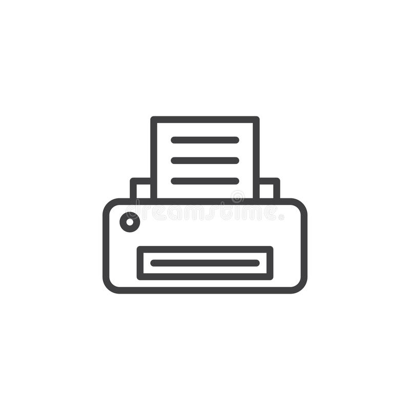 Printer line icon, outline vector sign, linear style pictogram isolated on white. Printing symbol, logo illustration. Editable stroke. Pixel perfect royalty free illustration